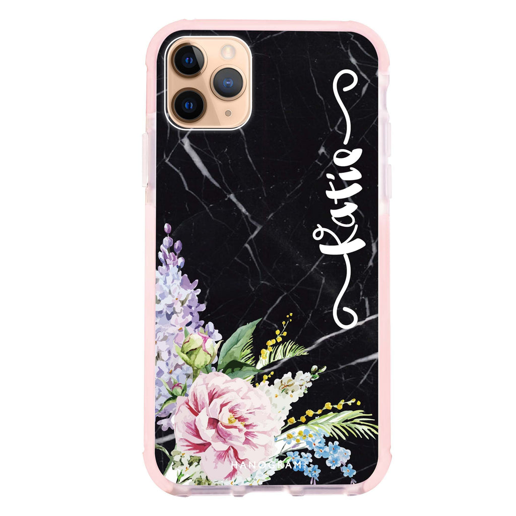 Floral & Black Marble iPhone 11 Pro 吸震防摔保護殼