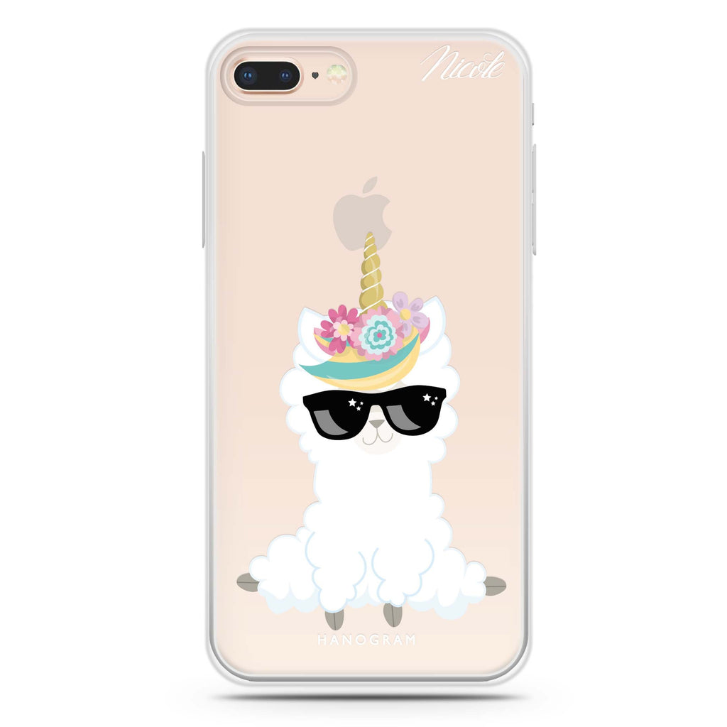 Sunglasses llamacorn iPhone 8 Plus 透明軟保護殻