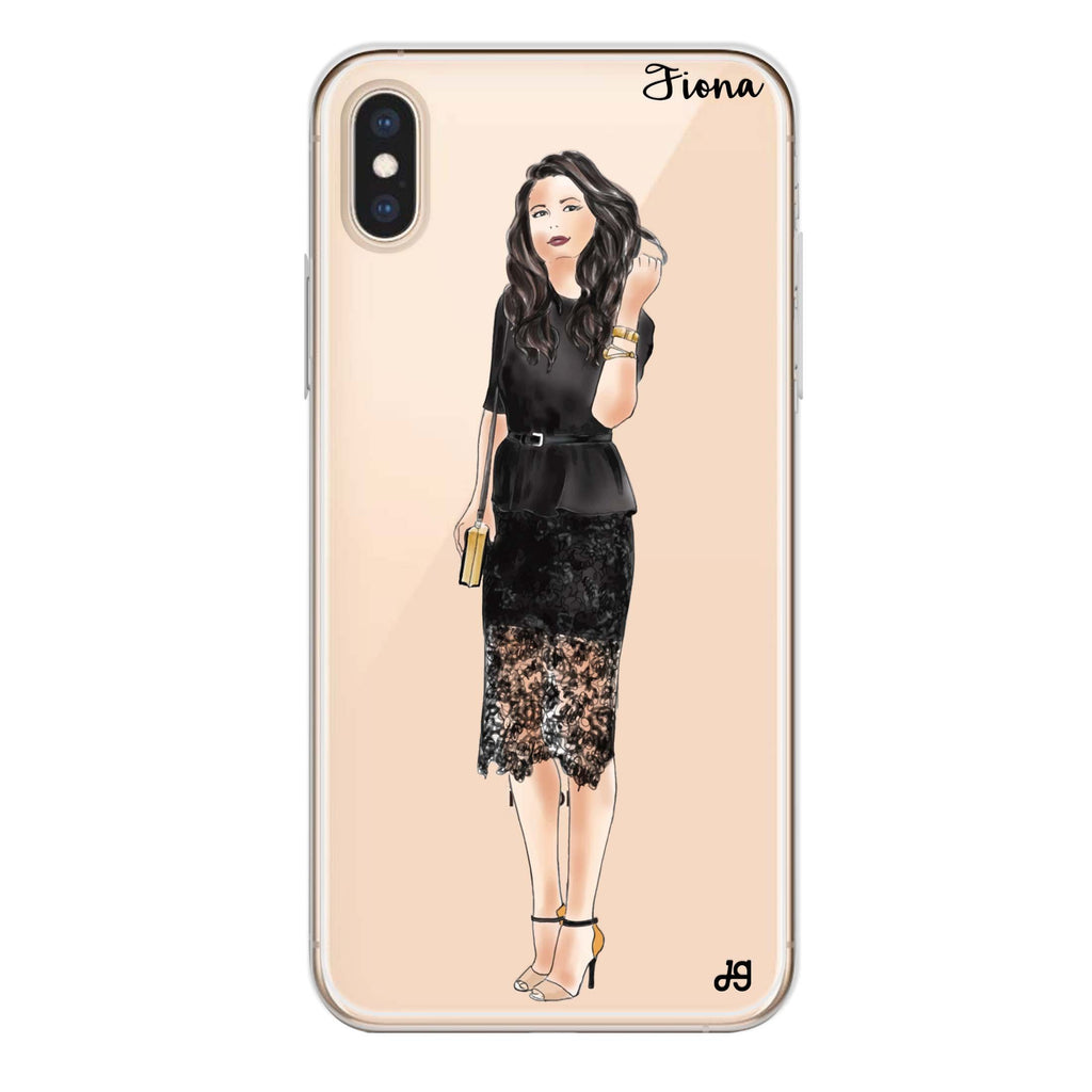 Black lace girl I iPhone XS Max 透明軟保護殻