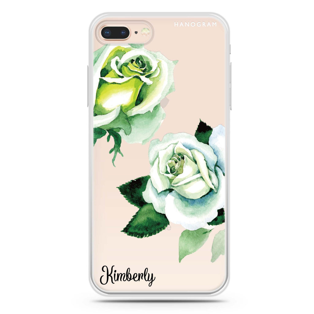 White Rose iPhone 8 Plus 透明軟保護殻