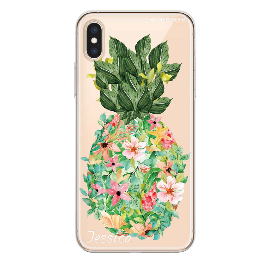 Floral Pineapple iPhone XS 透明軟保護殻
