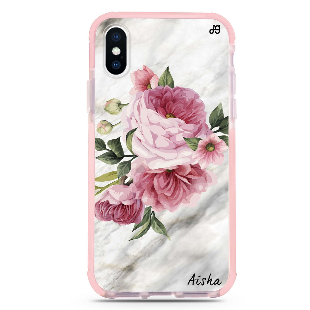 Floral & Marble iPhone XS Max 吸震防摔保護殼