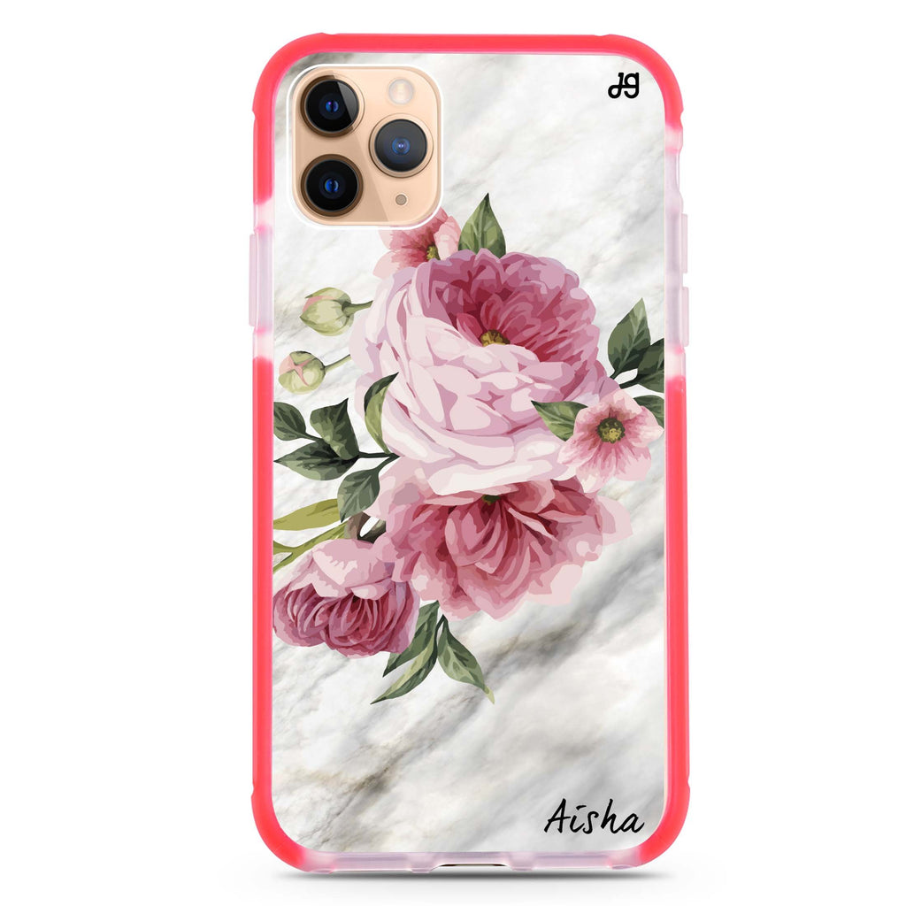 Floral & Marble iPhone 11 Pro Max 吸震防摔保護殼