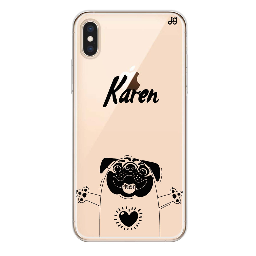 Lovely Pug iPhone X 透明軟保護殻