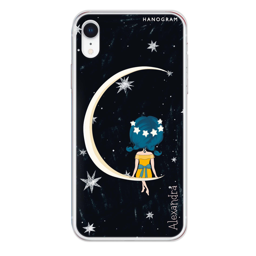 Cute Girl Moon iPhone XR 透明軟保護殻