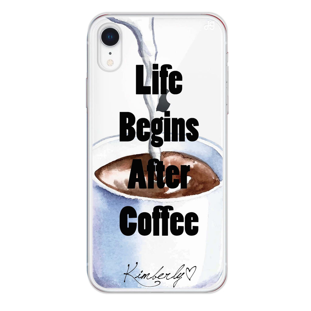 Life begins after coffee iPhone XR 透明軟保護殻