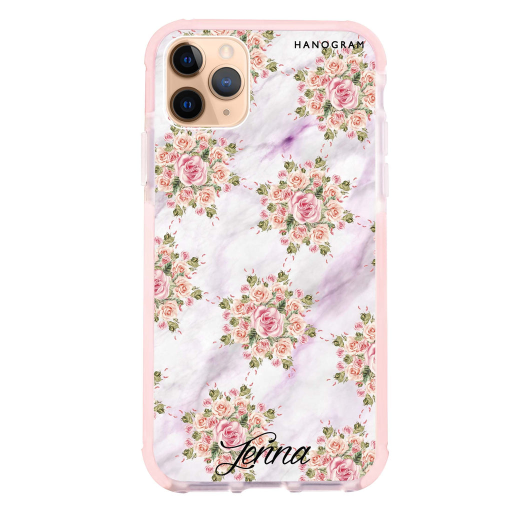 Floral & White Marble iPhone 11 Pro Max 吸震防摔保護殼