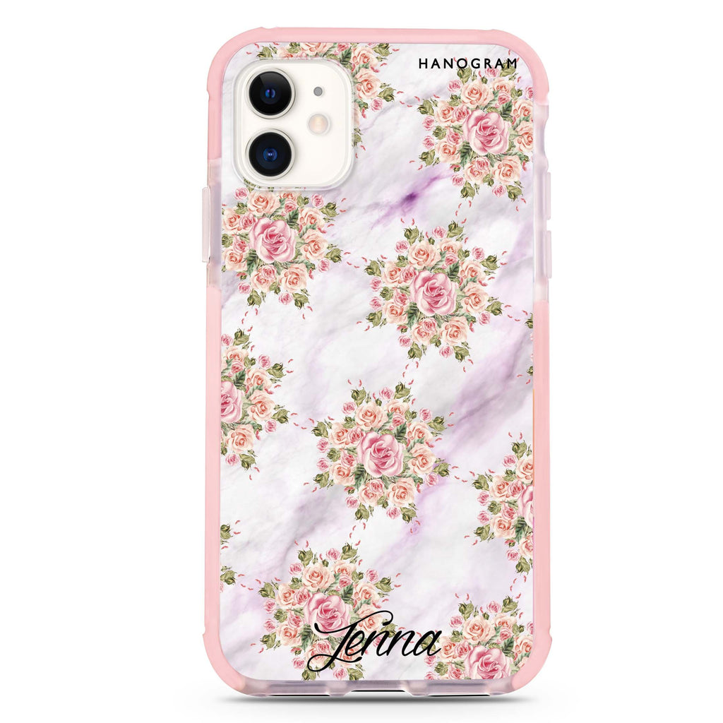 Floral & White Marble iPhone 11 吸震防摔保護殼