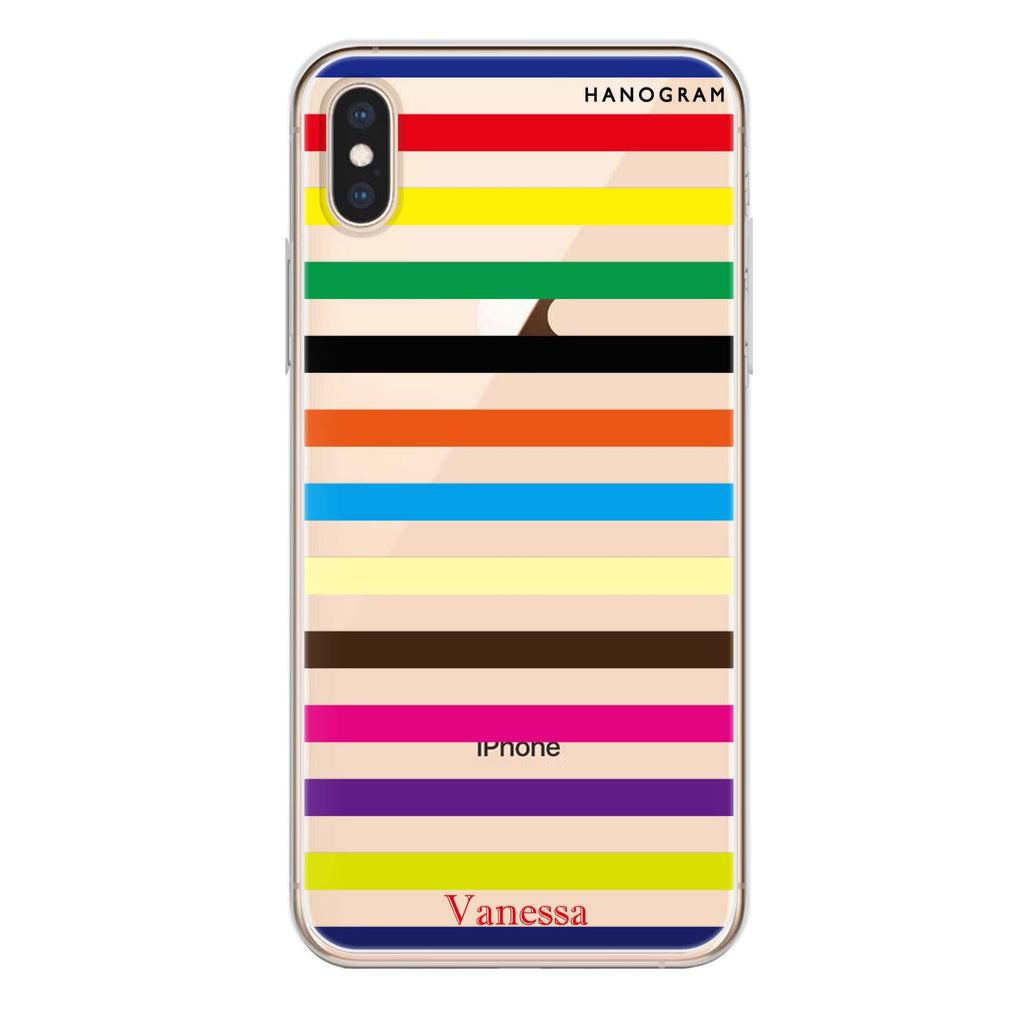 colorful stripe iPhone XS 透明軟保護殻