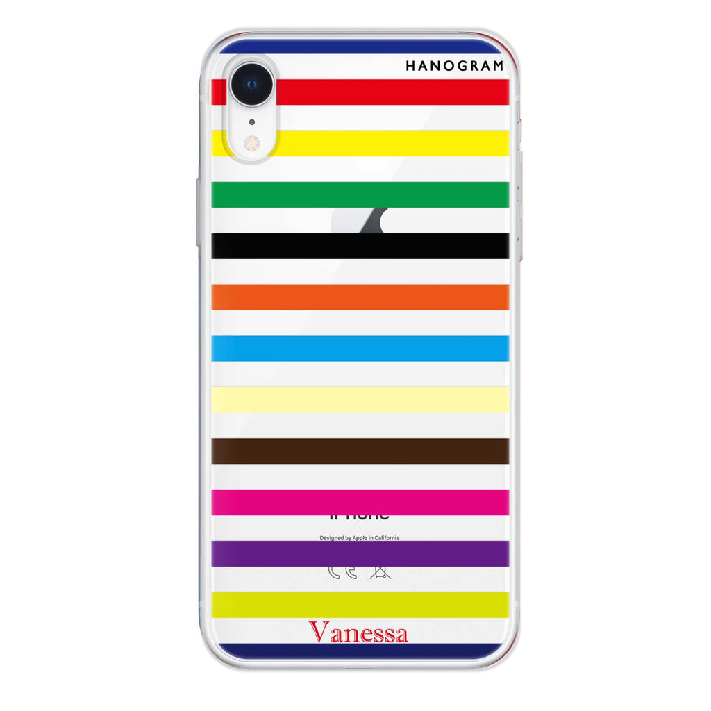 colorful stripe iPhone XR 透明軟保護殻