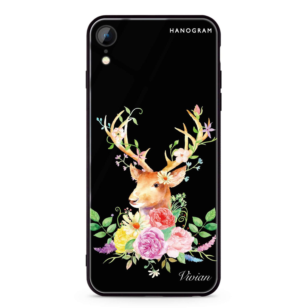 Floral & Deer iPhone XR 超薄強化玻璃殻