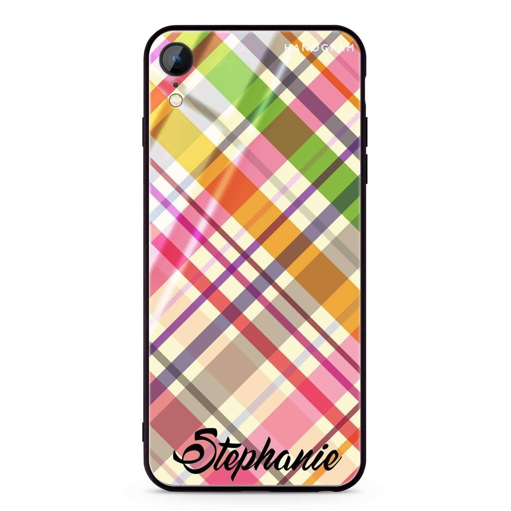 Colourful Checker Custom Name iPhone XR 超薄強化玻璃殻