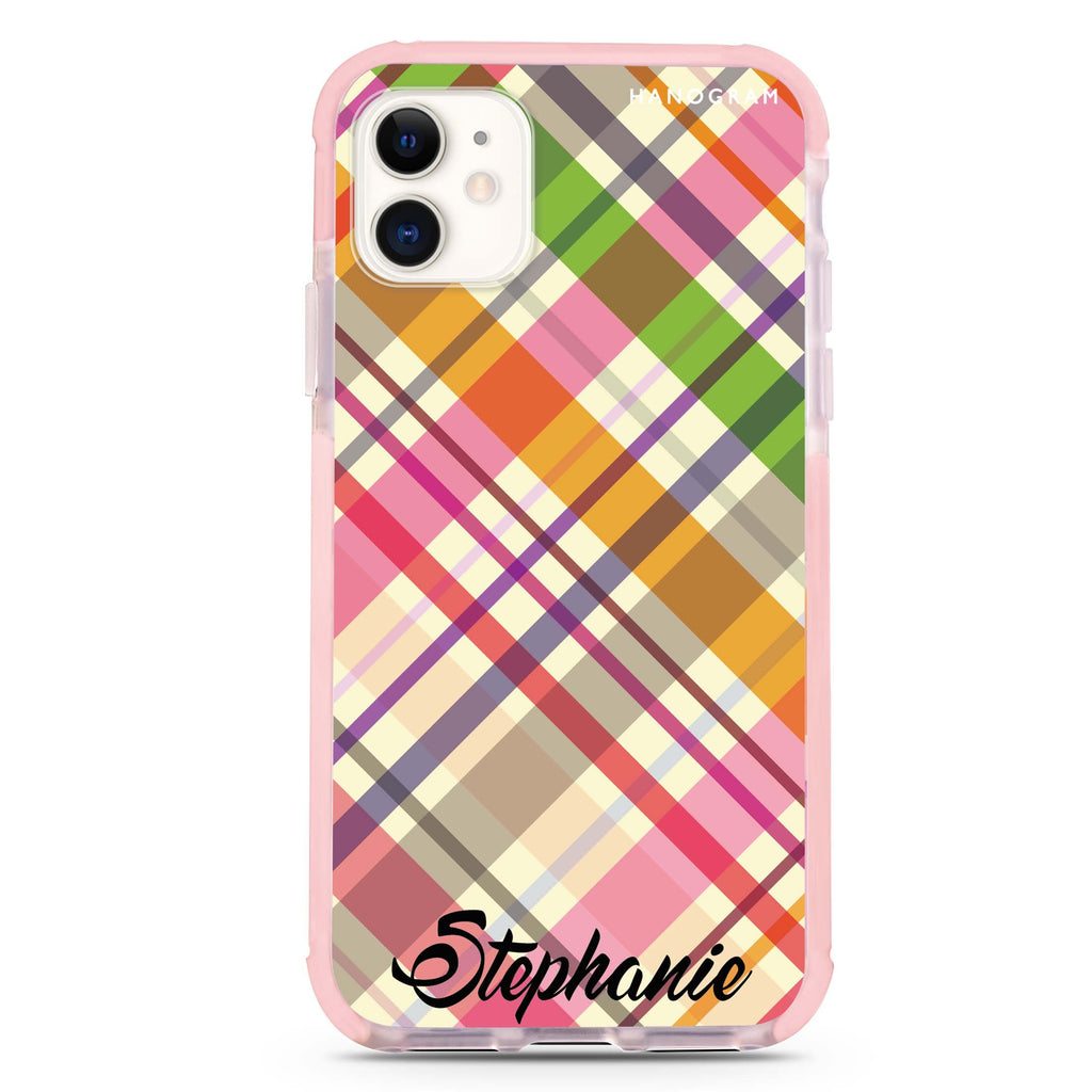 Colourful Checker Custom Name iPhone 11 吸震防摔保護殼