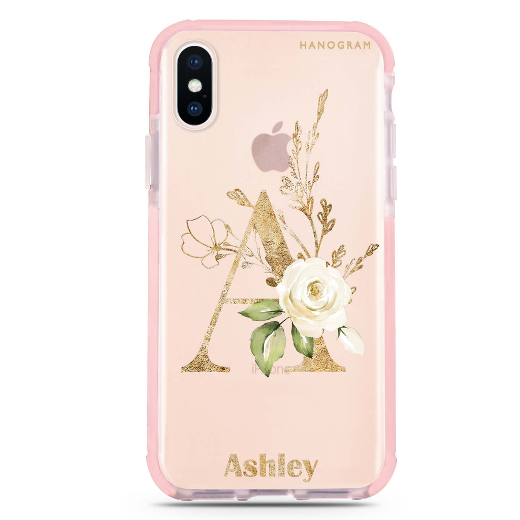 Golden Floral Monogram iPhone X 吸震防摔保護殼