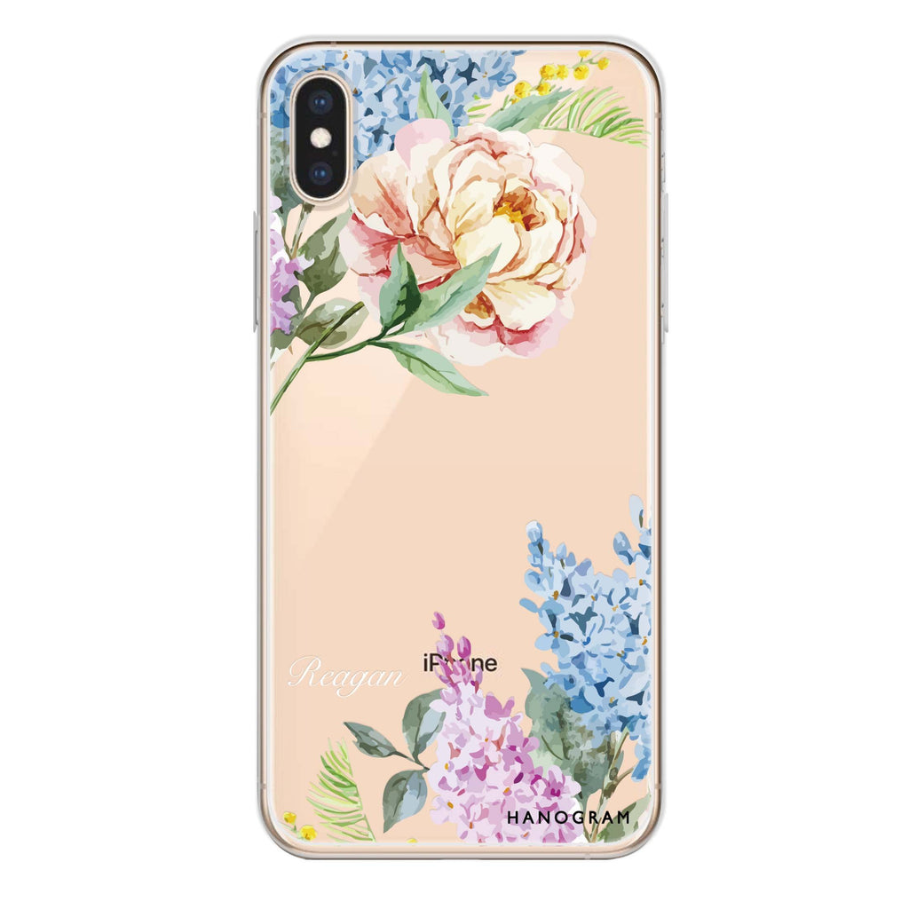 Tropical Floral iPhone XS 透明軟保護殻