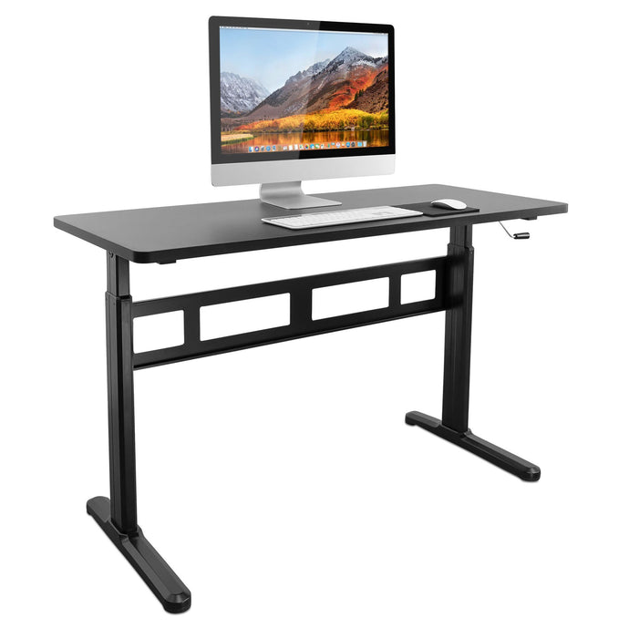 Mount-It! Hand Crank Sit-Stand Desk Including Frame and Tabletop - Endless Desks