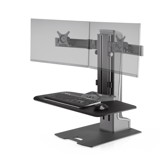 Innovative Winston-E Sit-Stand Workstation Dual Monitor Mount with Compact Work Surface - Innovative - Workstation - Endless Desks