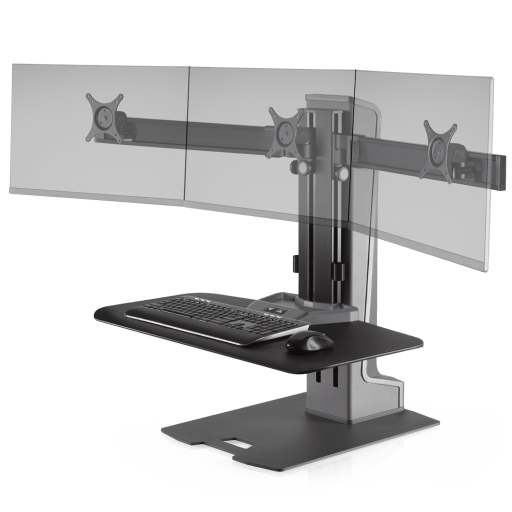 Innovative Winston-E Sit-Stand Workstation Triple Monitor Mount with Compact Work Station - Innovative - Workstation - Endless Desks
