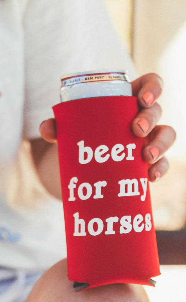 charlie southern: beer for my horses tall drink sleeve [set of 4]