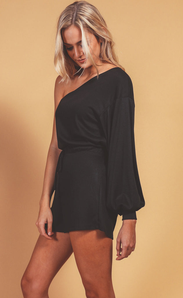 hold the applause one shoulder romper - black
