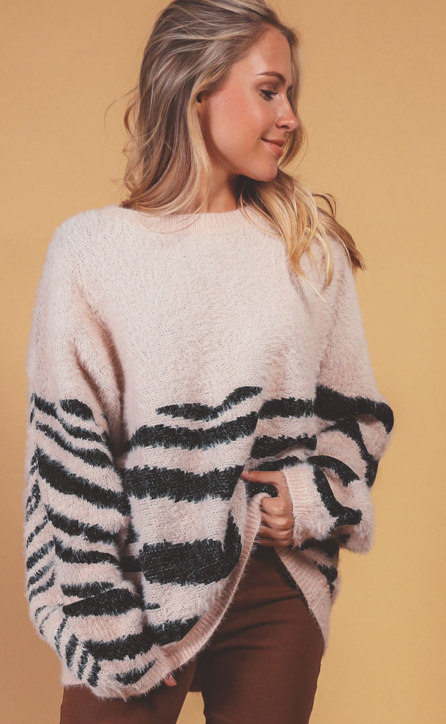 walk on the wild side knit sweater - mauve
