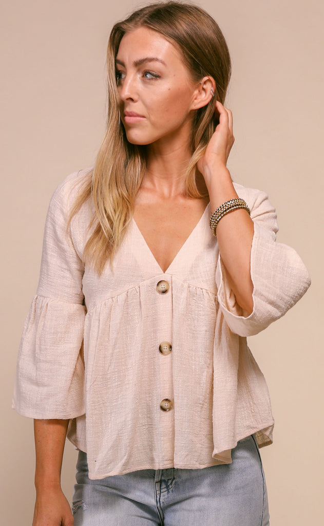 feeling flouncy babydoll top - natural