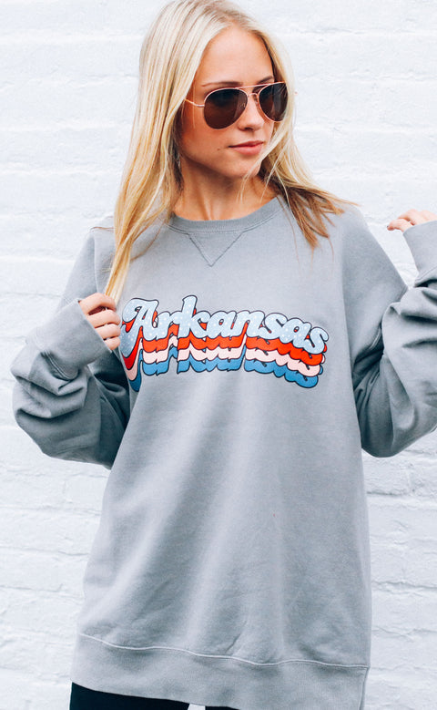 charlie southern: layered star state sweatshirt - arkansas (pre-order)