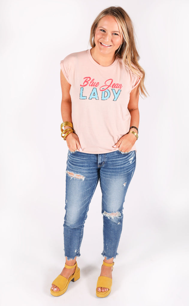 friday + saturday: blue jean lady t shirt