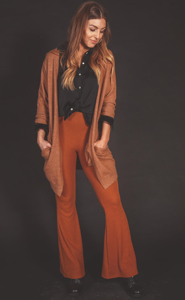 off duty ribbed flare pants - rust