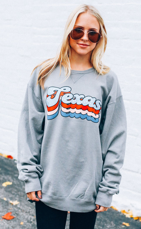 charlie southern: layered star state sweatshirt - texas (pre-order)