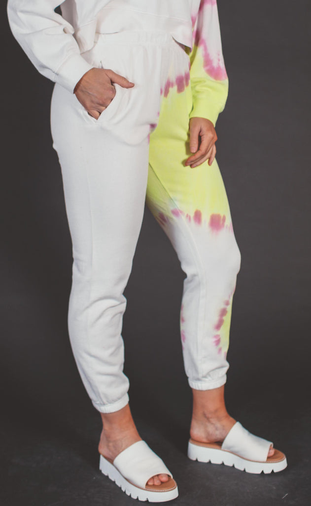z supply: sunburst tie dye jogger - white