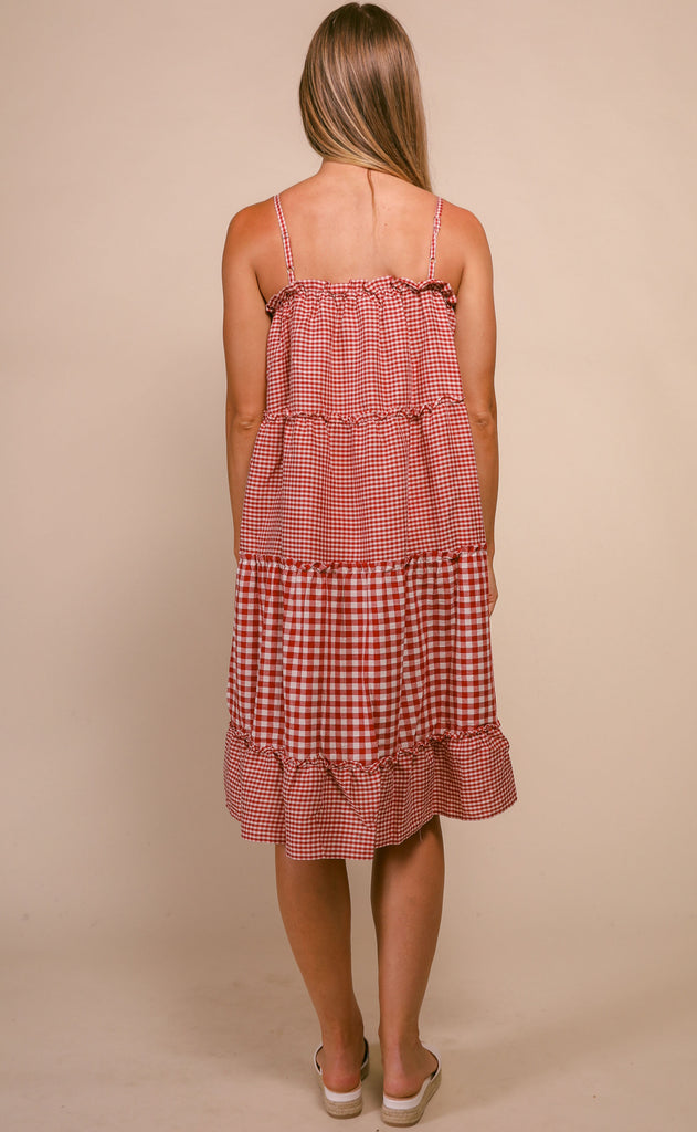 gingham gal ruffle dress - red