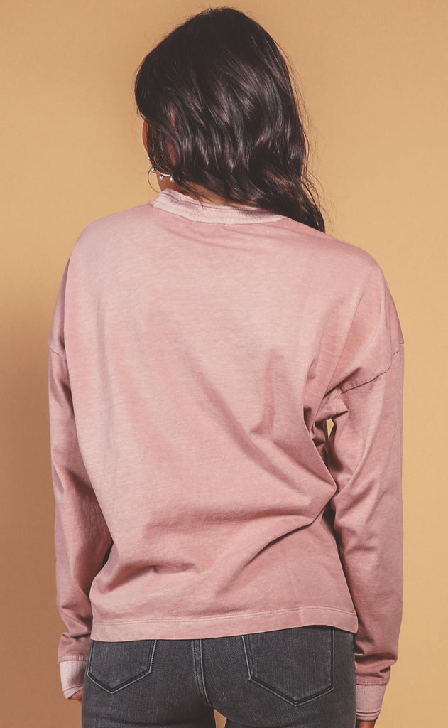 richer poorer: relaxed long sleeve pullover - soft mauve