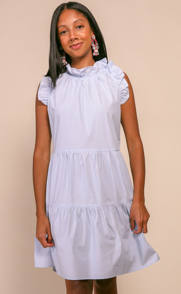 cape cod ruffle dress - pale blue