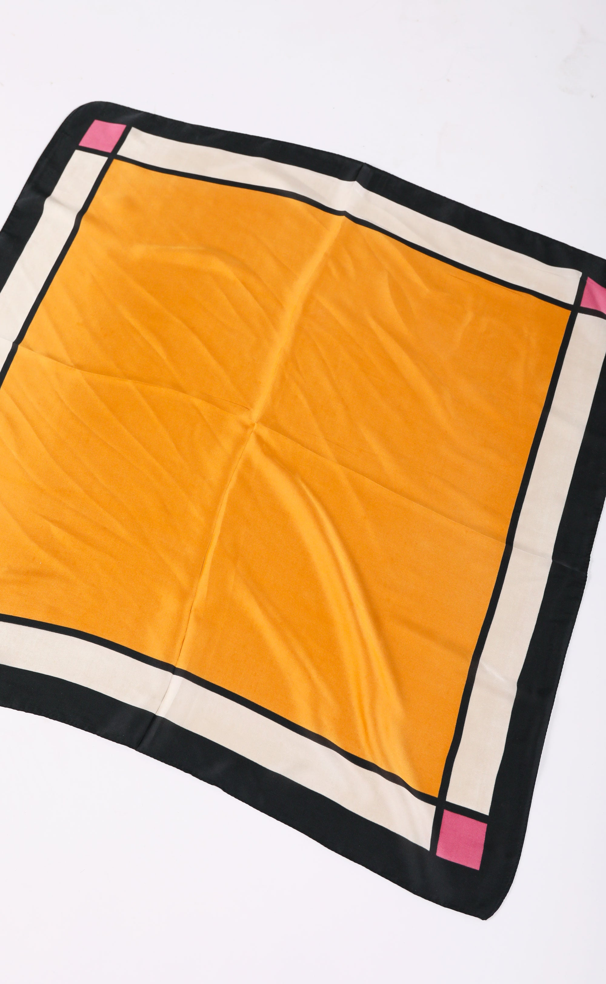 silk scarf - mustard colorblock