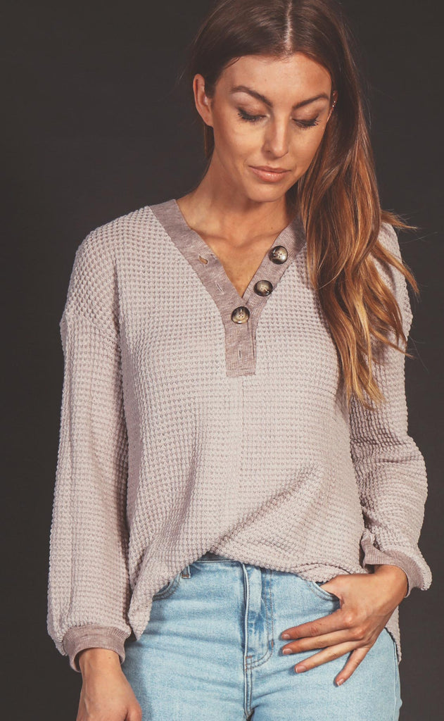 happy here waffle knit top - stone