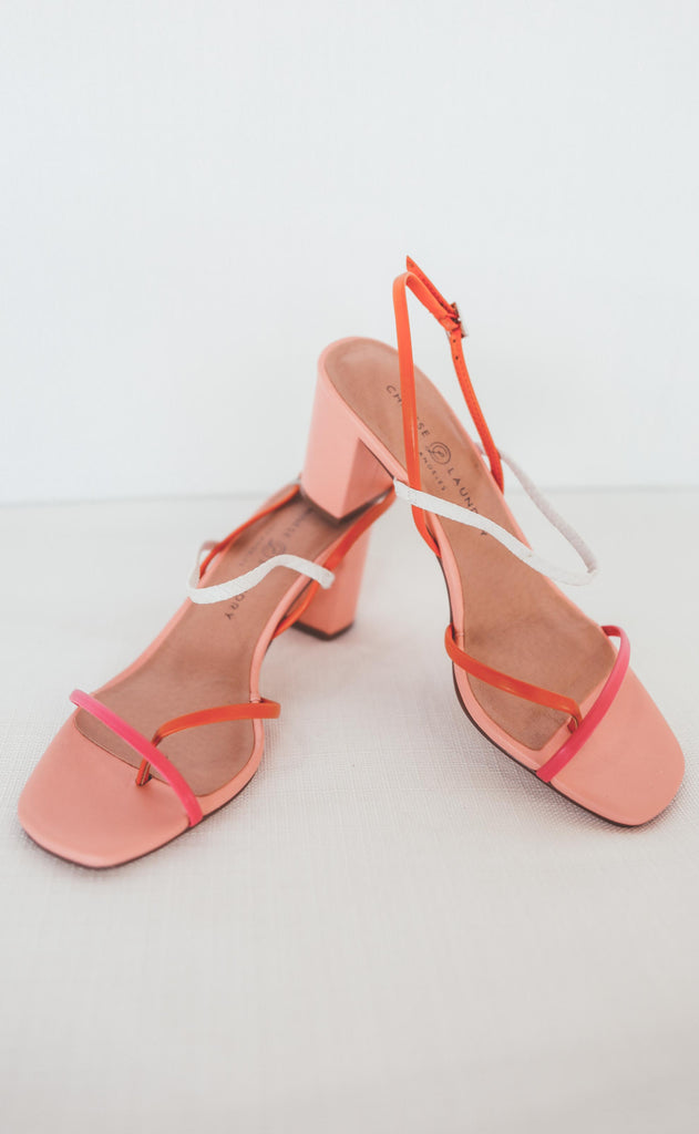 chinese laundry: yanna sandal - orange/hot pink