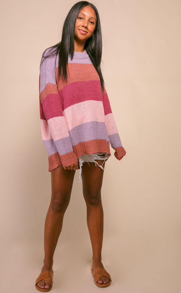 show me your mumu: woodsy sweater - sunset stripe knit