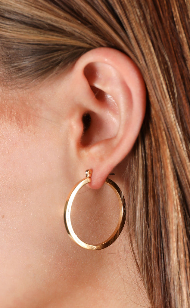 shinny hoop earrings