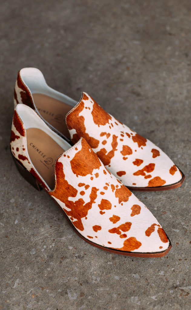 chinese laundry: fortune cow print bootie