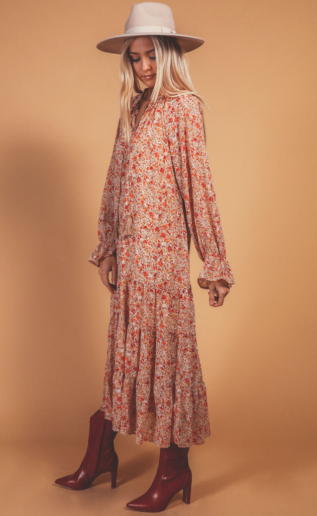 autumn days printed dress - beige