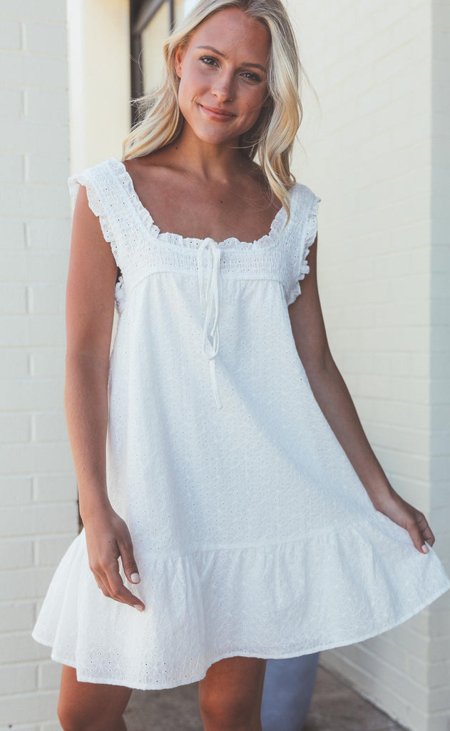 seaside smocked mini dress