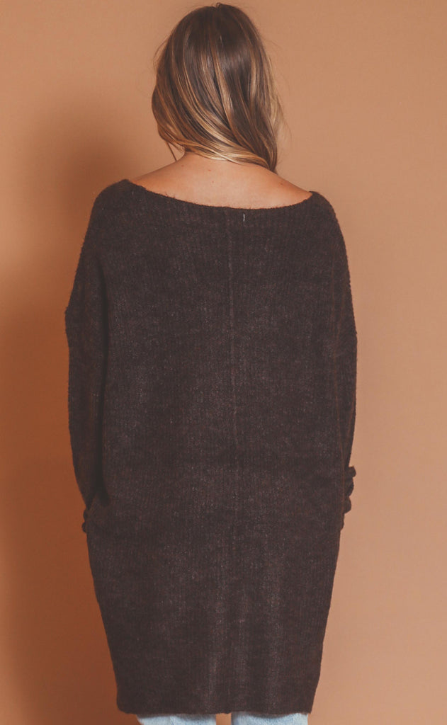 soft touch knit sweater - espresso