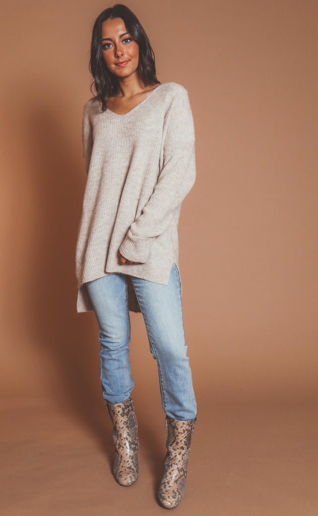 soft touch knit sweater - taupe