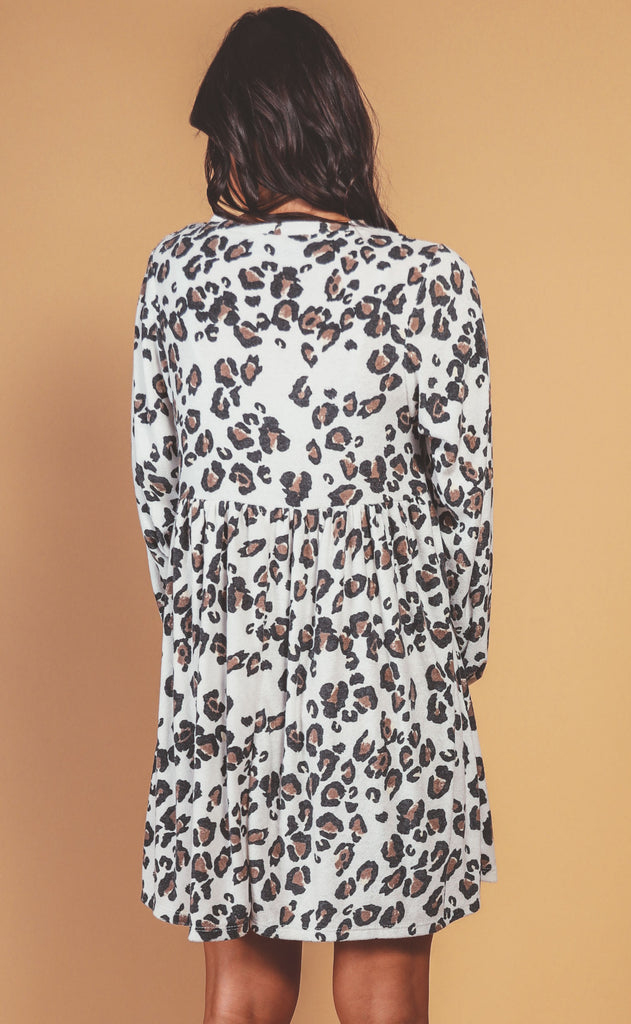feeling catty printed dress - ivory
