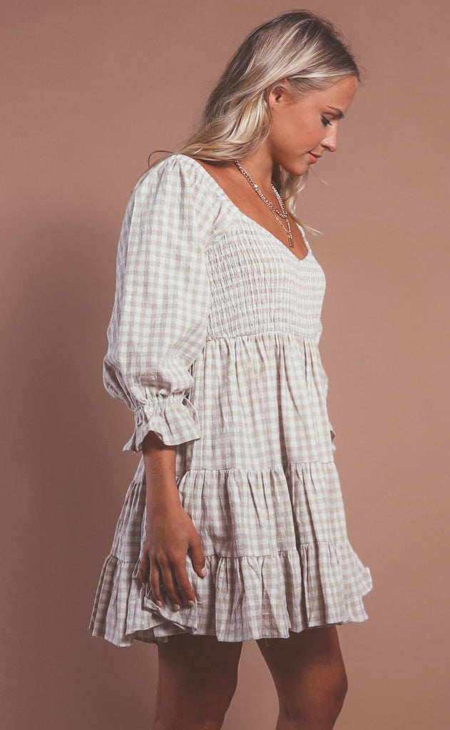 sea level smocked dress - taupe