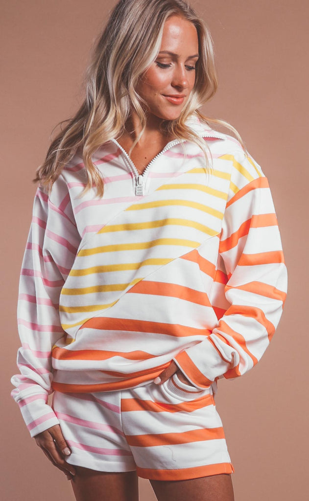 solid & striped: pullover - sorbet colorblocked stripe