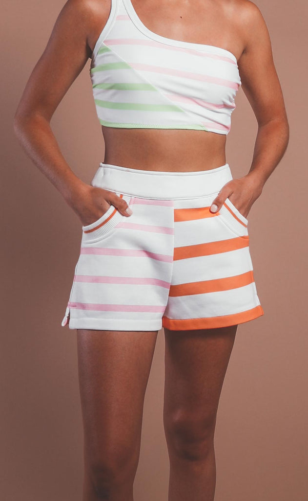 solid & striped: sophie shorts - sorbet colorblocked stripe