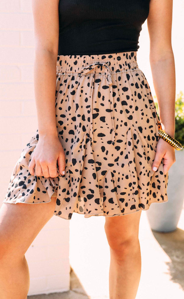 date night leopard skirt - taupe
