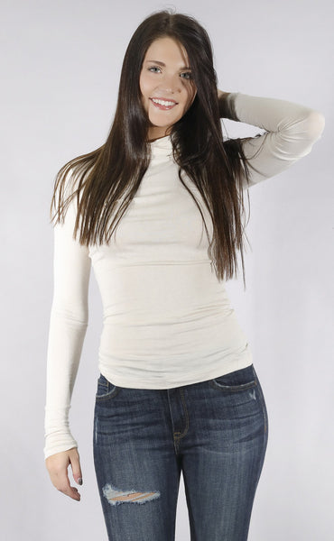 city streets turtleneck top - cream